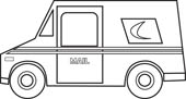 Postal Truck Outline courtesy of Classroom Clipart.