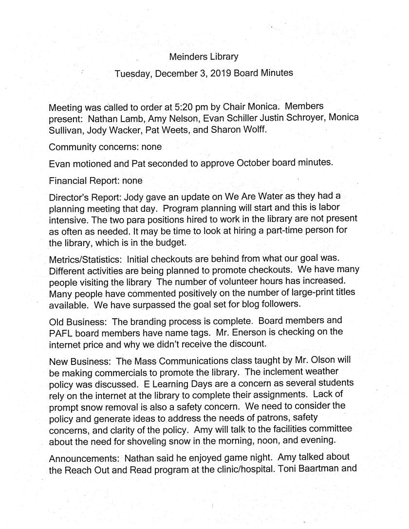December 2019 Board Minutes